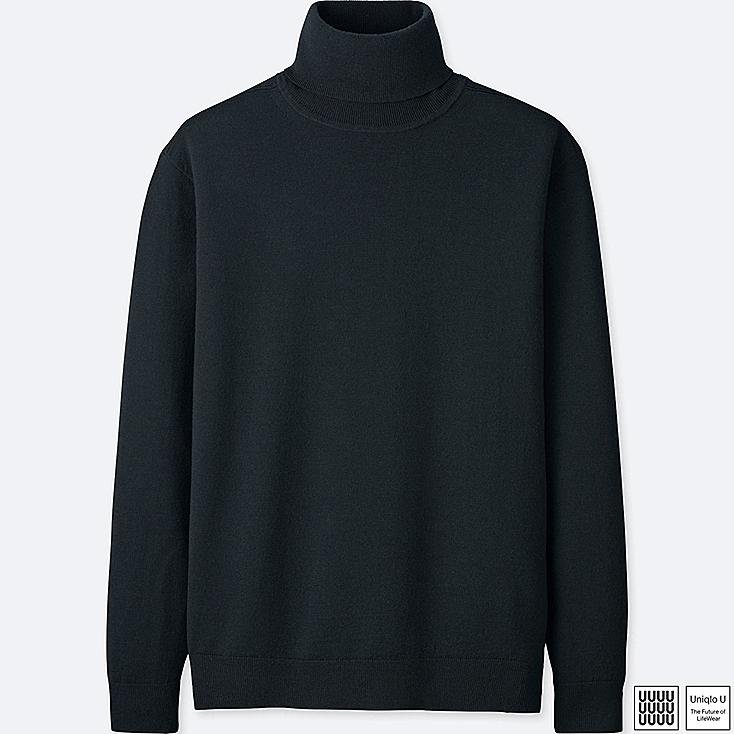 MEN U EXTRA FINE MERINO TURTLENECK LONG-SLEEVE SWEATER, BLACK, large