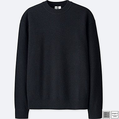 MEN UNIQLO U PREMIUM LAMBSWOOL CREW NECK LONG SLEEVE SWEATER