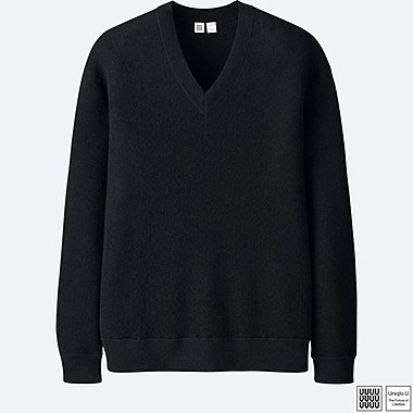 MEN U WOOL V-NECK LONG-SLEEVE SWEATER, BLACK, medium