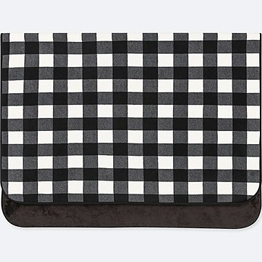 FLEECE BLOCK CHECKED LARGE BLANKET, BLACK, medium