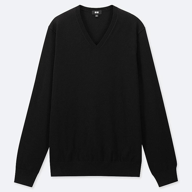 MEN SUPIMA® COTTON V-NECK LONG-SLEEVE SWEATER, BLACK, large