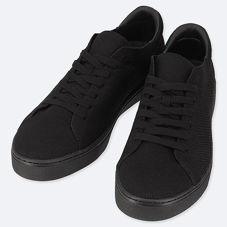 MEN KNIT SNEAKERS, BLACK, large