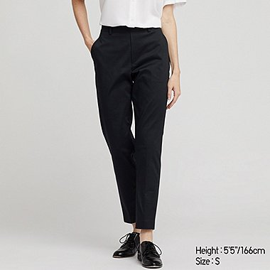 WOMEN EZY SATIN ANKLE PANTS, BLACK, medium