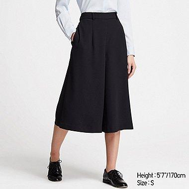 WOMEN DRAPE WIDE CROPPED PANTS (ONLINE EXCLUSIVE), BLACK, medium