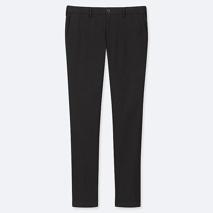 MEN SLIM-FIT CHINO FLAT-FRONT PANTS, BLACK, large