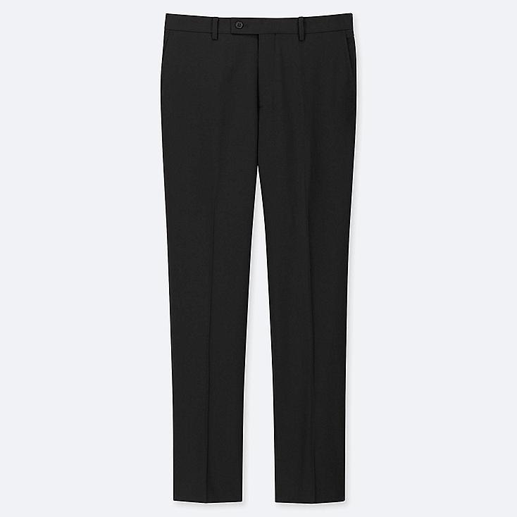 MEN STRETCH WOOL FLAT FRONT PANTS, BLACK, large