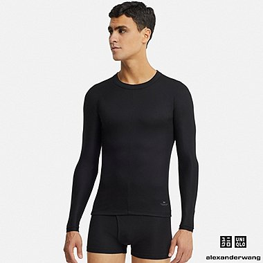 MEN ALEXANDER WANG HEATTECH RIBBED CREW NECK LONG SLEEVED T-SHIRT