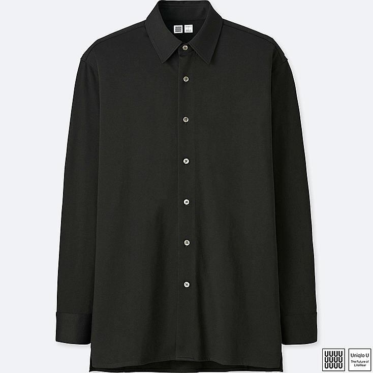 MEN U SUPIMA® COTTON JERSEY LONG-SLEEVE SHIRT, BLACK, large