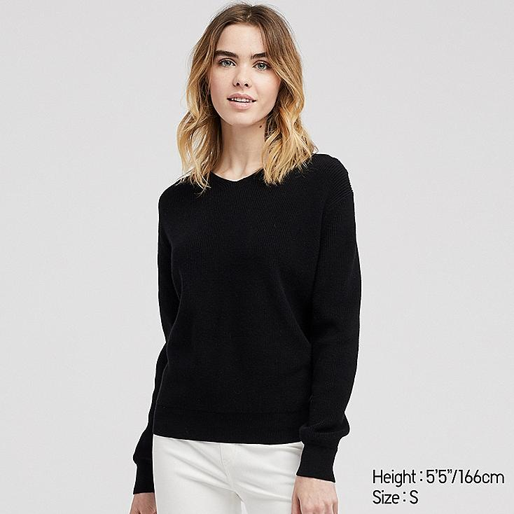 WOMEN COTTON CASHMERE V-NECK SWEATER, BLACK, large