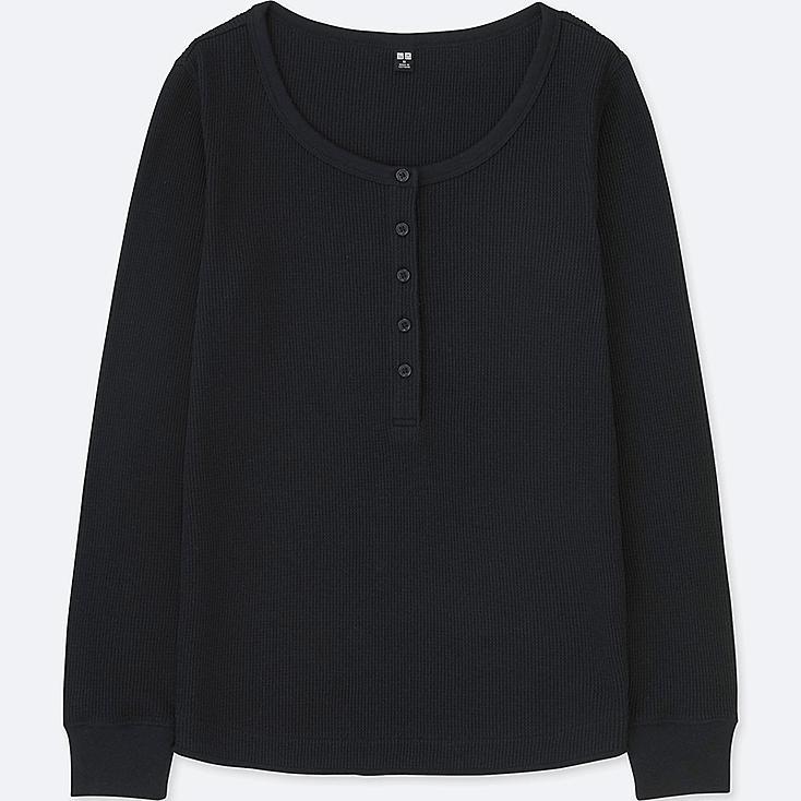 WOMEN WAFFLE HENLEY NECK LONG-SLEEVE T-SHIRT, BLACK, large