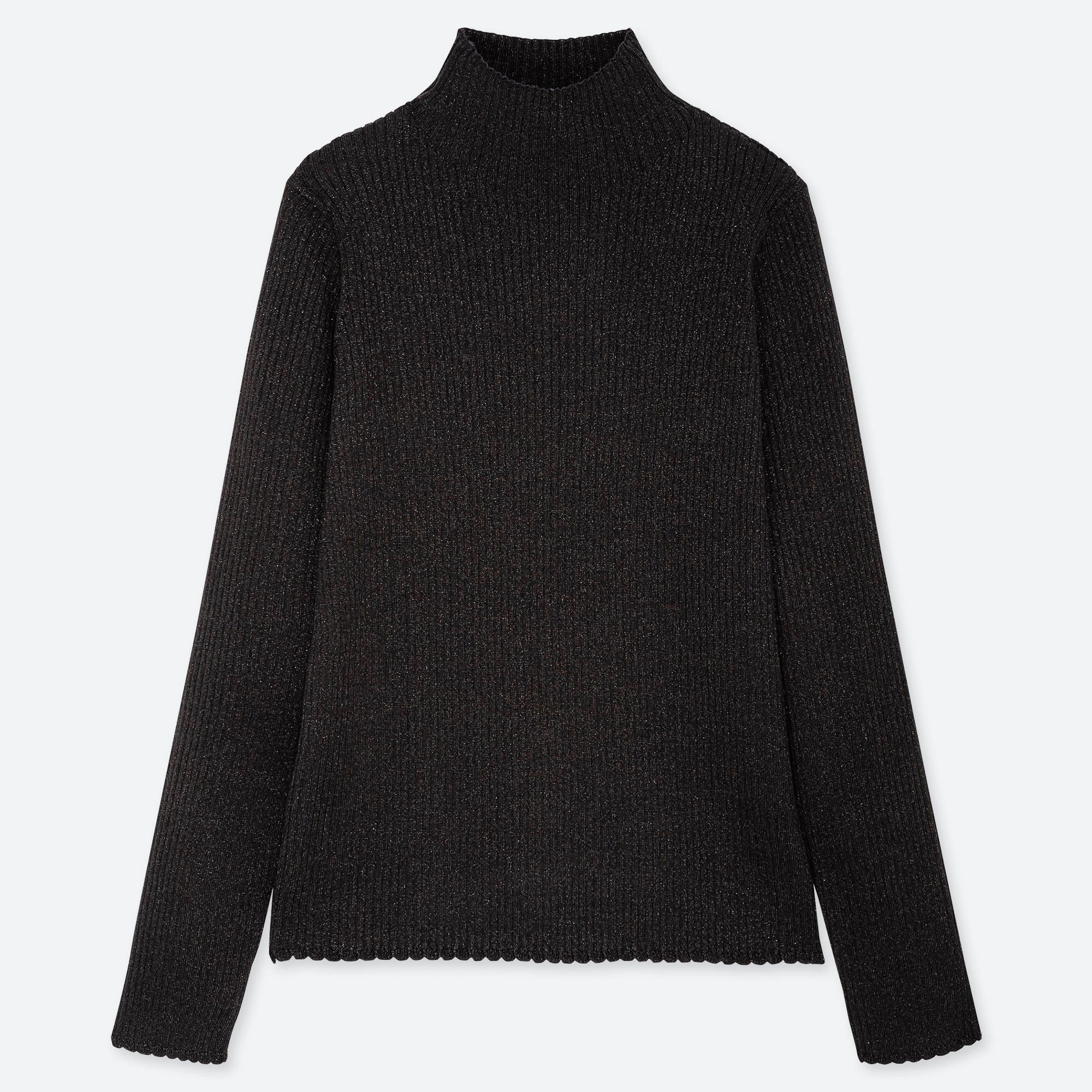 513f7dc055 WOMEN SHINY RIBBED HIGH-NECK SWEATER