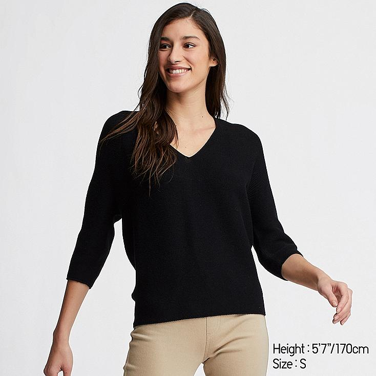 WOMEN 3D COTTON COCOON V-NECK 3/4 SLEEVE SWEATER, BLACK, large