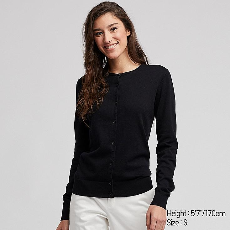 WOMEN UV CUT SUPIMA® COTTON CREW NECK CARDIGAN, BLACK, large