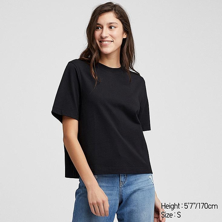 WOMEN CROPPED CREW NECK SHORT-SLEEVE T-SHIRT, BLACK, large