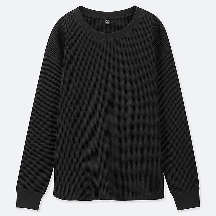 WOMEN WAFFLE CREW NECK LONG-SLEEVE T-SHIRT, BLACK, large