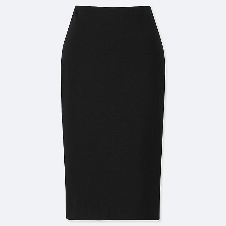 WOMEN PONTE PENCIL SKIRT, BLACK, large