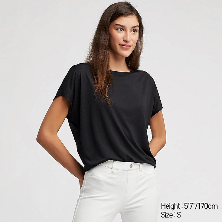 WOMEN DRAPE CREW NECK SHORT-SLEEVE T-SHIRT, BLACK, large