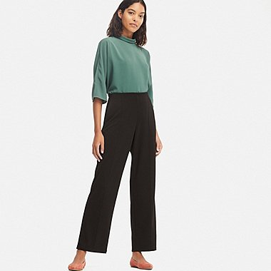 WOMEN PONTE HIGH-WAIST STRAIGHT PANTS, BLACK, medium