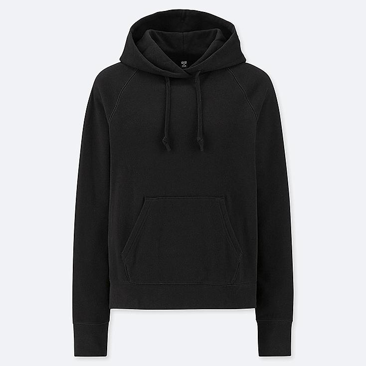 WOMEN LONG-SLEEVE HOODED SWEATSHIRT, BLACK, large