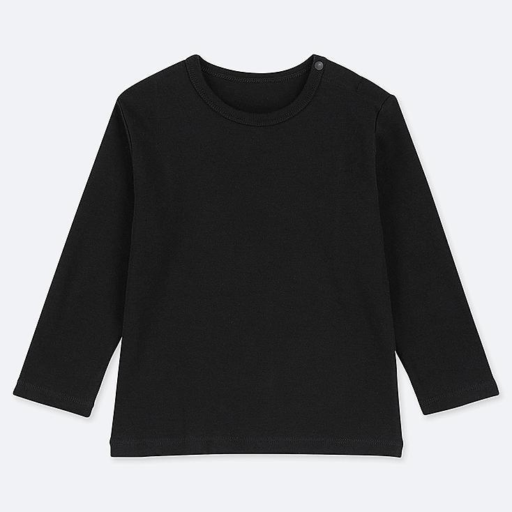 TODDLER CREW NECK LONG-SLEEVE T-SHIRT, BLACK, large