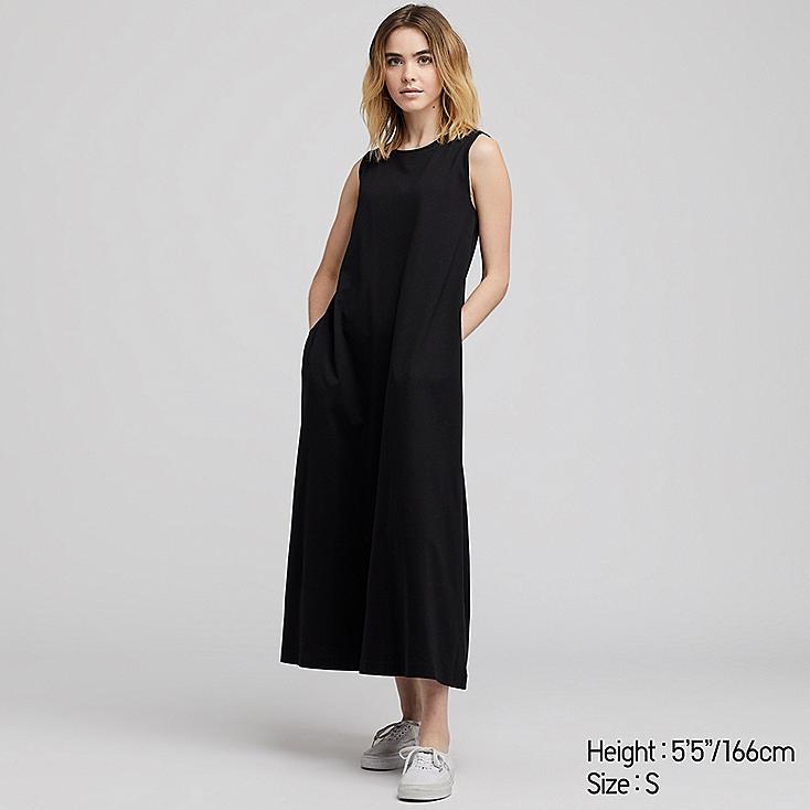 WOMEN MERCERIZED COTTON A-LINE SLEEVELESS LONG DRESS, BLACK, large