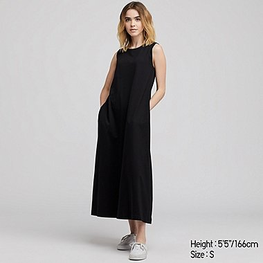 WOMEN MERCERIZED COTTON A-LINE SLEEVELESS LONG DRESS, BLACK, medium
