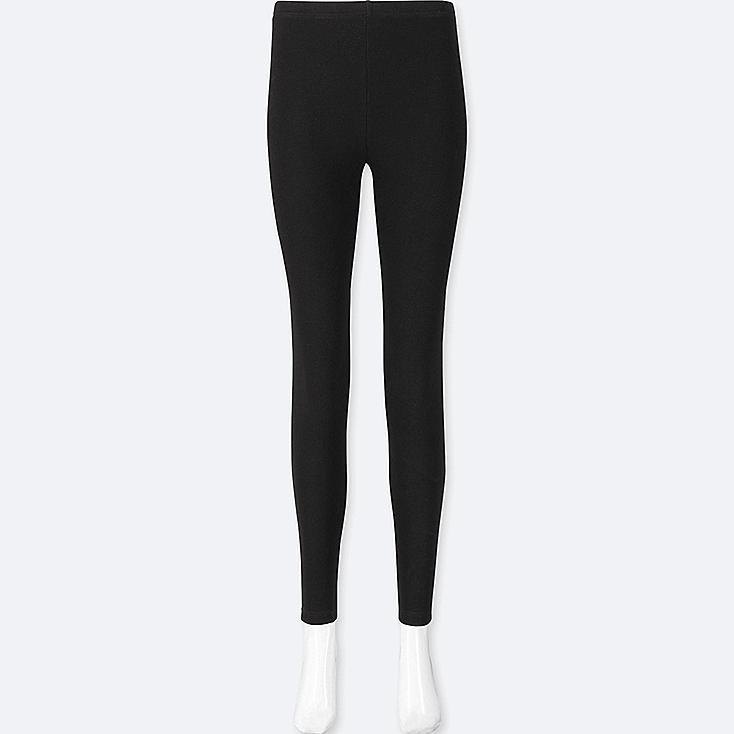 WOMEN WAFFLE LEGGINGS, BLACK, large