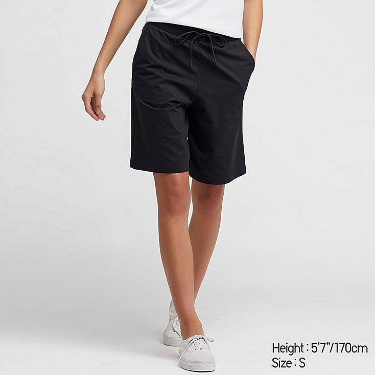 WOMEN ULTRA STRETCH ACTIVE KNEE-LENGTH SHORTS (ONLINE EXCLUSIVE), BLACK, large