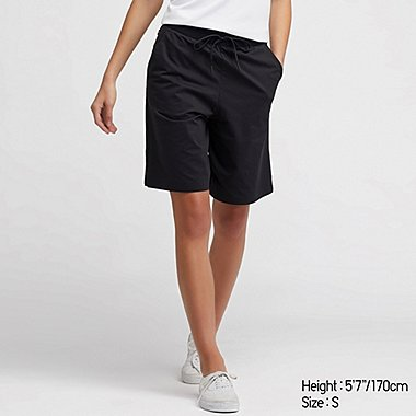 WOMEN ULTRA STRETCH ACTIVE KNEE-LENGTH SHORTS (ONLINE EXCLUSIVE), BLACK, medium