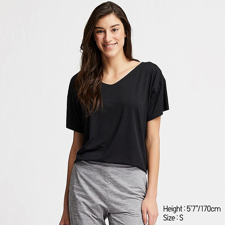 WOMEN AIRism SEAMLESS V-NECK LONG T-SHIRT, BLACK, large