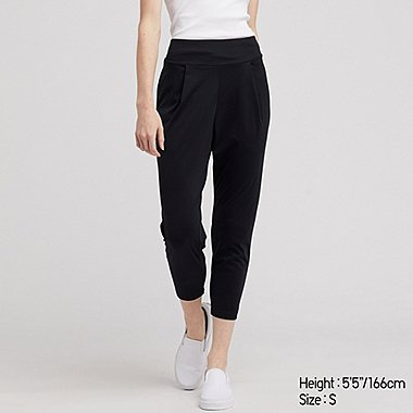 WOMEN AIRism YOGA TAPERED PANTS, BLACK, medium