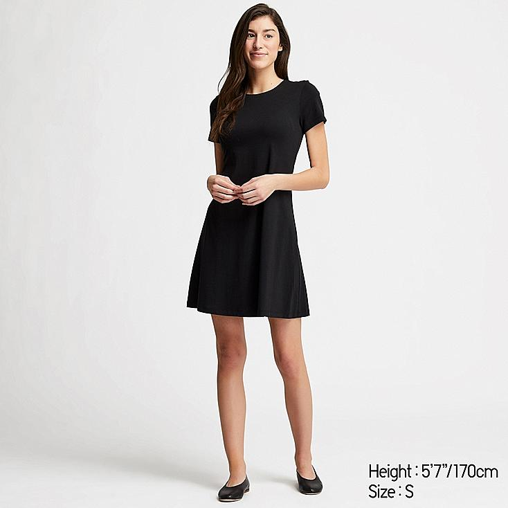 WOMEN A-LINE SHORT-SLEEVE MINI BRA DRESS, BLACK, large