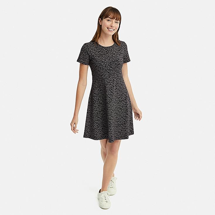 WOMEN PRINTED A-LINE SHORT-SLEEVE MINI BRA DRESS, BLACK, large
