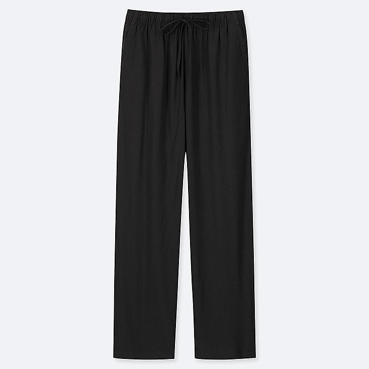 WOMEN DRAPE STRAIGHT PANTS, BLACK, large