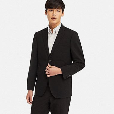 MEN STRETCH SLIM-FIT WOOL JACKET, BLACK, medium