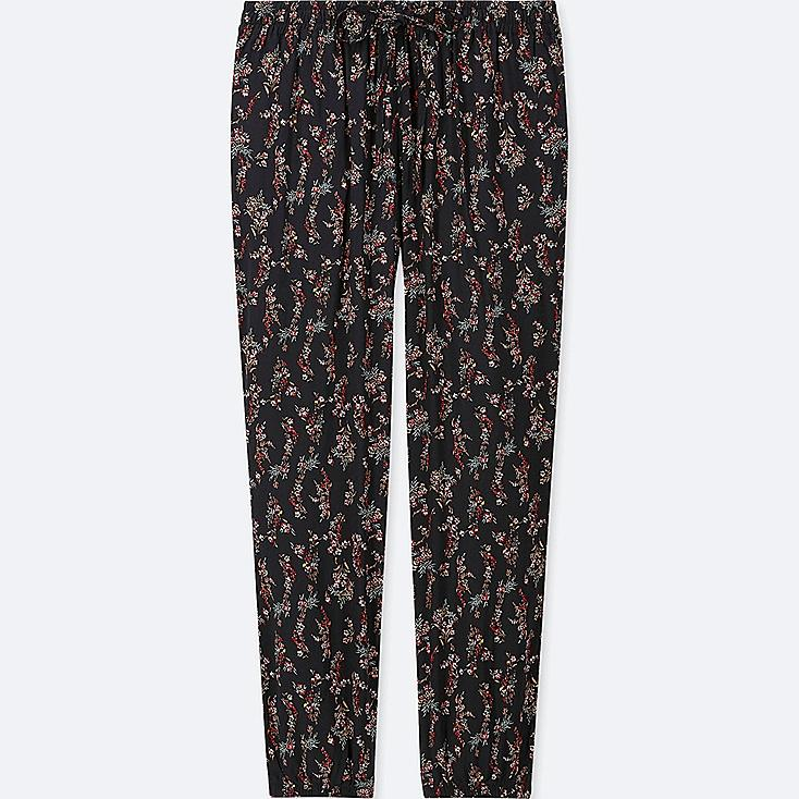 WOMEN DRAPE JOGGER FLORAL PANTS, BLACK, large