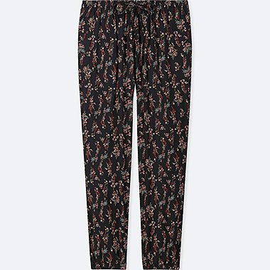 WOMEN DRAPE CROPPED FIT FLORAL PRINT LOUNGE JOGGERS