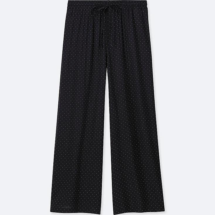 WOMEN DRAPE WIDE DOT PANTS, BLACK, large