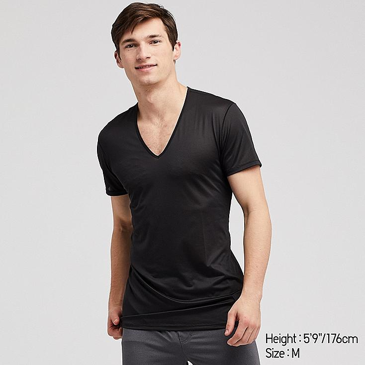 MEN AIRism MESH V-NECK SHORT-SLEEVE T-SHIRT, BLACK, large
