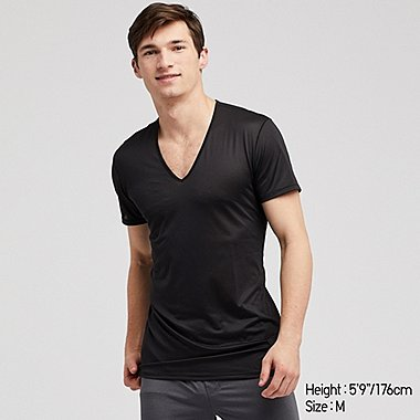 MEN AIRism MESH V-NECK SHORT-SLEEVE T-SHIRT, BLACK, medium