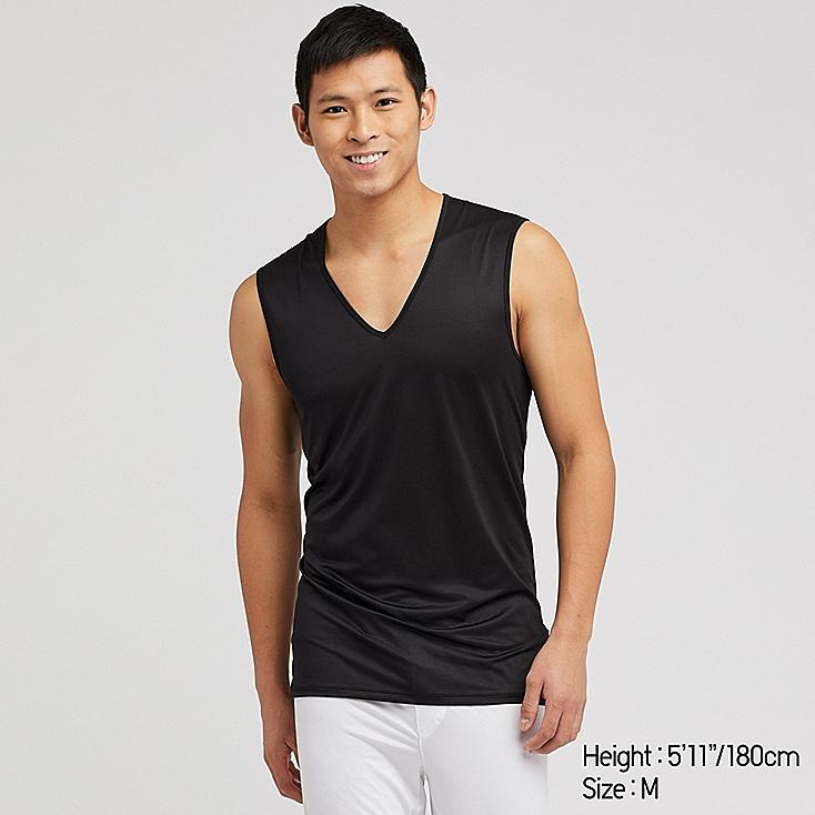 MEN AIRism MESH V-NECK SLEEVELESS TOP, BLACK, large