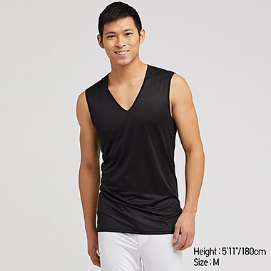 MEN AIRism MESH V-NECK SLEEVELESS TOP, BLACK, medium