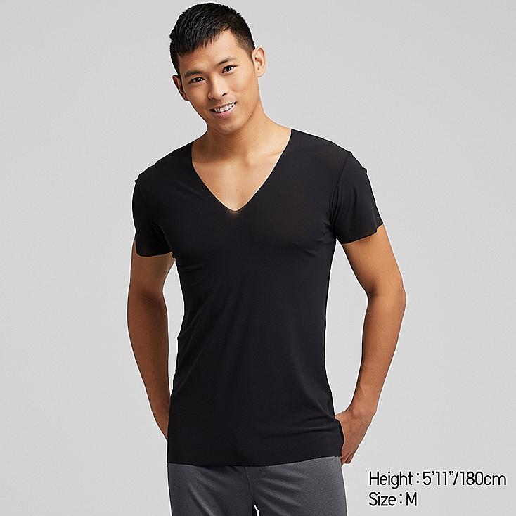 MEN AIRism SEAMLESS SHORT-SLEEVE V-NECK T-SHIRT, BLACK, large