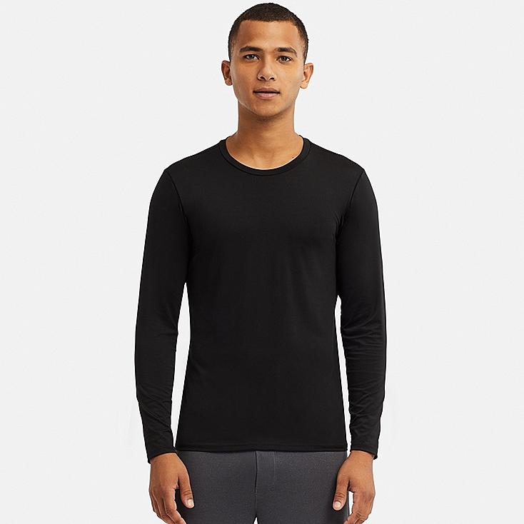 MEN AIRism CREW NECK LONG-SLEEVE T-SHIRT, BLACK, large