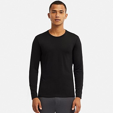 MEN AIRism CREW NECK LONG-SLEEVE T-SHIRT, BLACK, medium