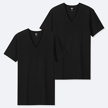 MEN SUPIMA® COTTON V-NECK SHORT-SLEEVE T-SHIRT (SET OF 2), BLACK, medium