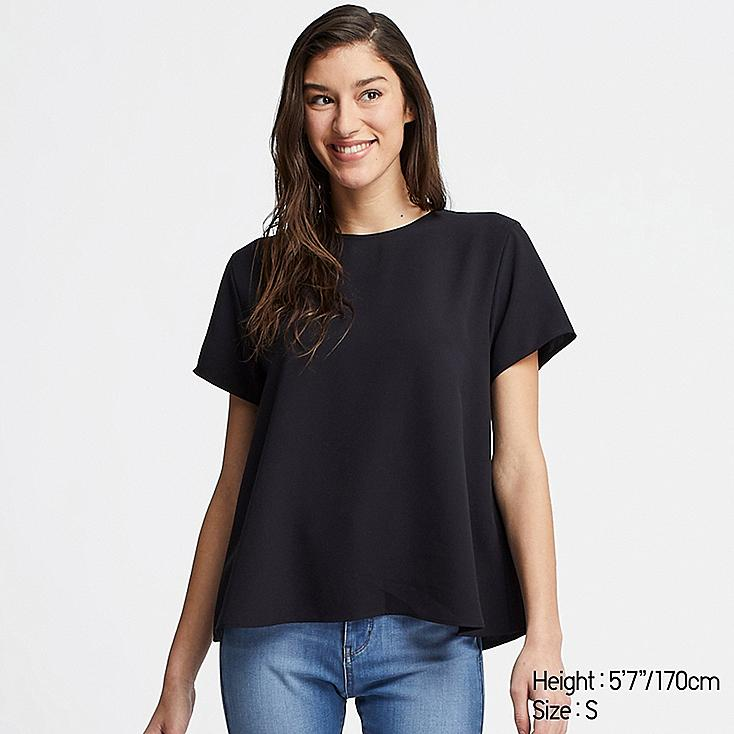 WOMEN DRAPE SHORT-SLEEVE BLOUSE, BLACK, large
