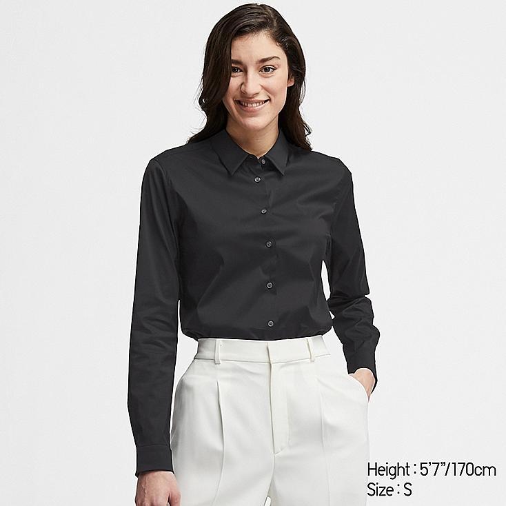 WOMEN SUPIMA® COTTON STRETCH LONG-SLEEVE SHIRT, BLACK, large