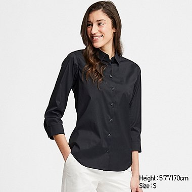 WOMEN SUPIMA® COTTON STRETCH 3/4 SLEEVE SHIRT (ONLINE EXCLUSIVE), BLACK, medium