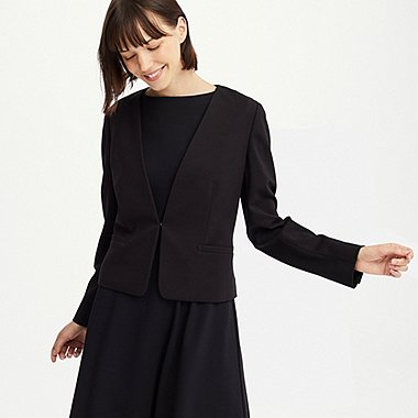 WOMEN PONTE COLLARLESS JACKET (ONLINE EXCLUSIVE), BLACK, medium